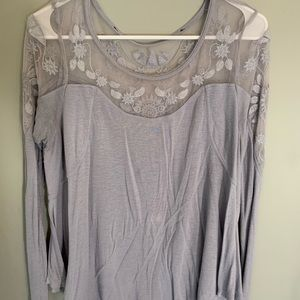 free people mesh loose fit lace top